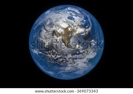 Planet Earth with Clouds and Atmosphere. Asia View. Digitally generated model of Planet Earth. Render based on  reference images of NASA. Elements of this image furnished by NASA - stock photo