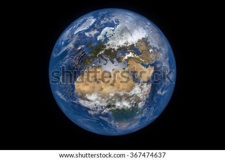 Planet Earth with Clouds and Atmosphere. Europe View. Digitally generated model of Planet Earth. 3D render based on  reference images of NASA. Elements of this image furnished by NASA - stock photo