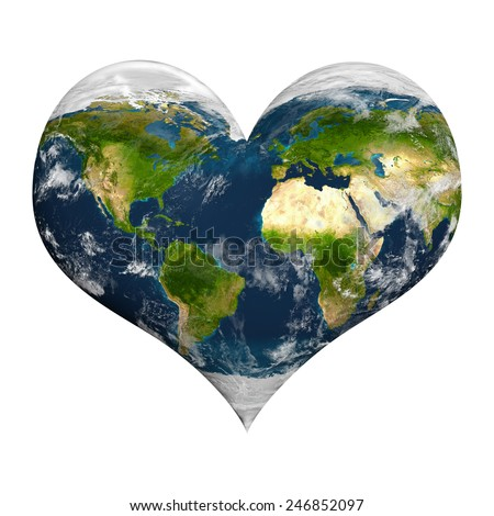 Planet earth with clouds in heart shape. Elements of this image furnished by NASA. - stock photo