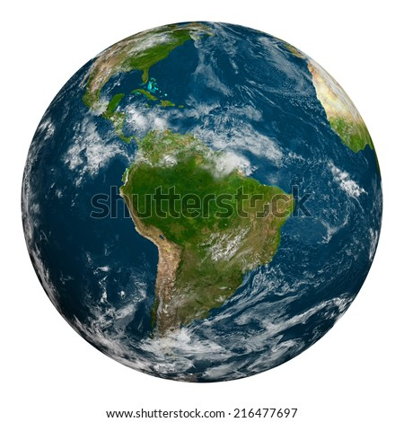 Planet earth with clouds. South America. Elements of this image furnished by NASA. - stock photo