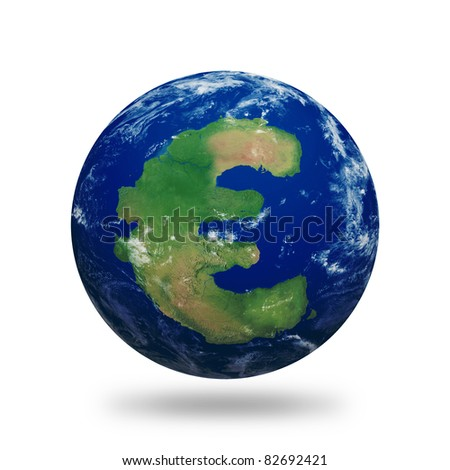 Planet Earth with Euro symbol shaped continent and clouds over a starry sky. Contains clipping path of planet.