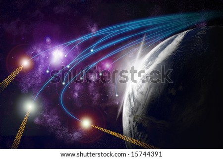Planet earth with flare in space, optical fibres, data transmission - stock photo