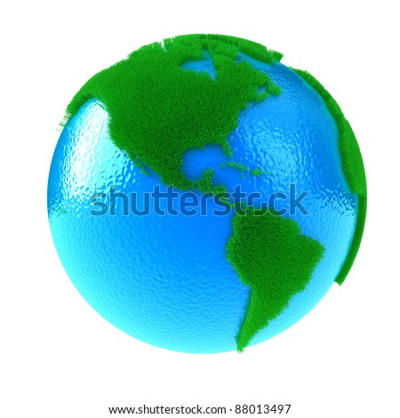 Planet Earth with green continents from a grass - stock photo