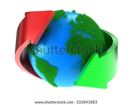 Planet Earth with green continents with arrows around - stock photo