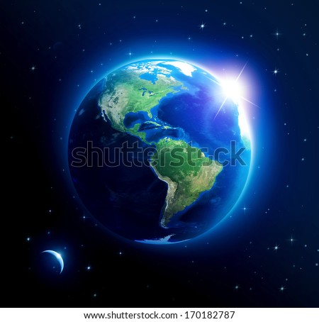 Planet earth with sun rising over America (Elements of this image furnished by NASA) - stock photo