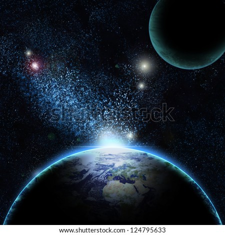 Planet earth with sun rising over North of America (Elements of this image furnished by NASA) - stock photo