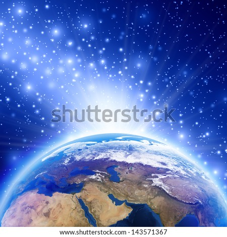 Planet earth with sunrise Africa, europe and asia, Earth globe image provided by NASA - stock photo