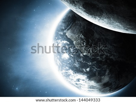 Planet earth with sunrise and moon in space. Elements of this image furnished by NASA - stock photo