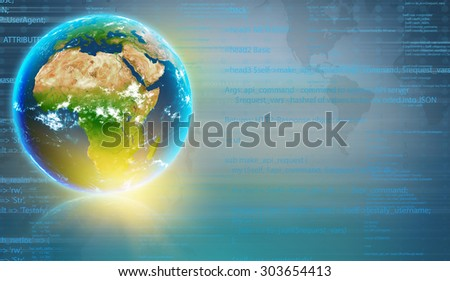 Planet earth with the continent of Africa and the computer code in the background. - stock photo