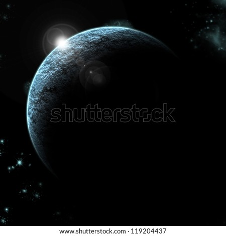 planet eclipse with stars in background - stock photo