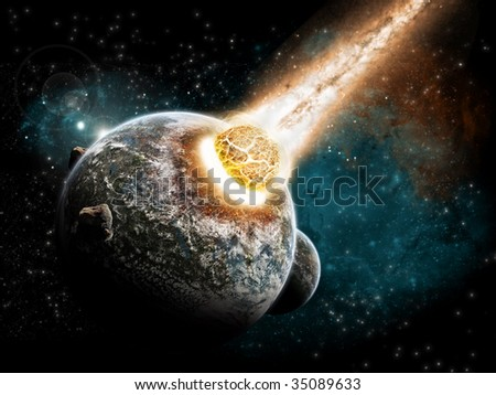 Planet explosion - stock photo
