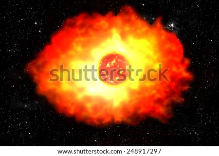 planet explosion in universe illustration on starry sky  - stock photo