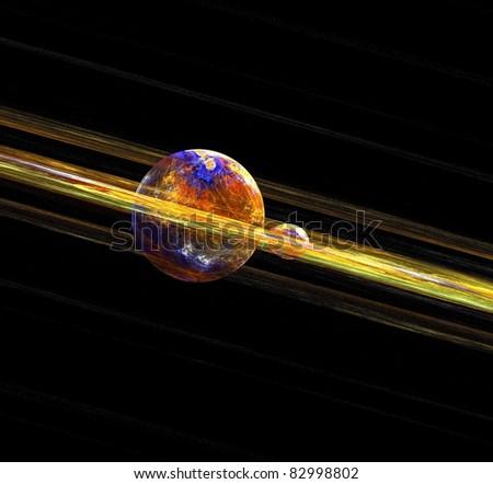 Planet fractal rendering - stock photo