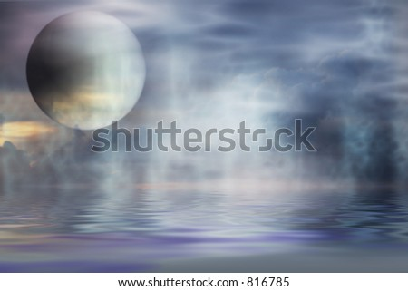 Planet in misty universe - stock photo