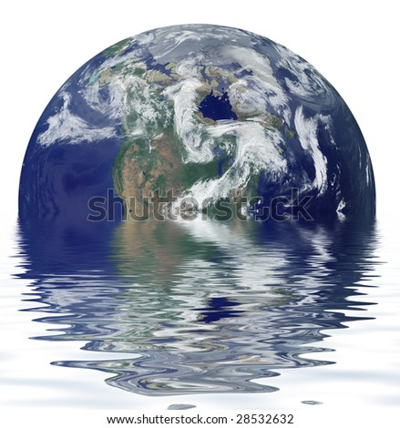 planet in water on a white background - stock photo