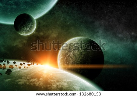 Planet landscape during sunrise - stock photo