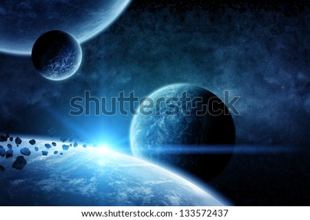 Planet landscape in space - stock photo