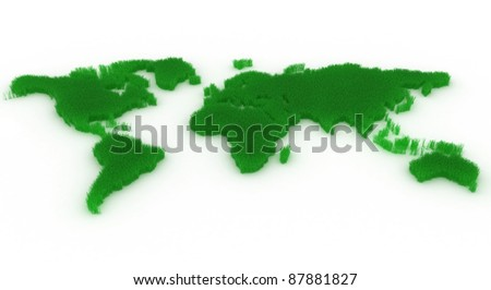 Planet map with green continents from a grass - stock photo