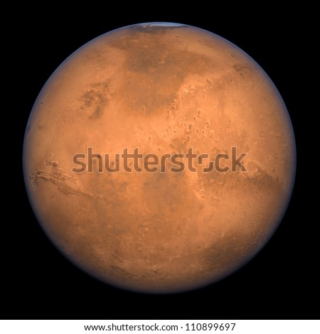 Planet Mars - A high res Full Shot rendering - stock photo