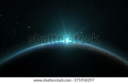 planet mercury with sunrise on the space background. Elements of this image furnished by NASA - stock photo
