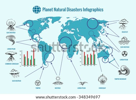 Planet natural disasters infographics - stock photo