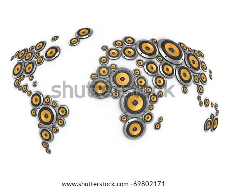 planet of sound 3d illustration - many loudspeakers forming world map - stock photo