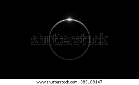 Planet on a starless background with sun rising from a horizon. - stock photo