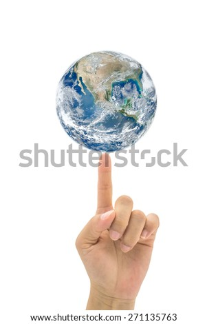 Planet on human finger on white background : Idea for saving environment :  World environment day concept : Elements of this image furnished by NASA  - stock photo