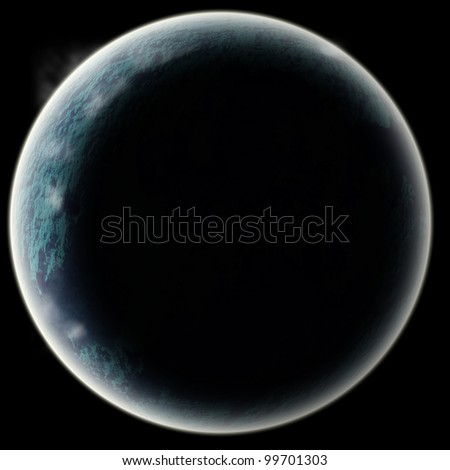 Planet or moon, 3d astrology element in space. asteroid eclipsed - stock photo