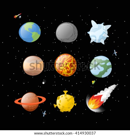 Planet set dark background. Dark space.  Planets of solar system by having  cartoon style. Earth, Jupiter. Mars and the Sun. falling meteorite. Fireball asteroid. Yellow Moon Astronomy, space objects - stock photo