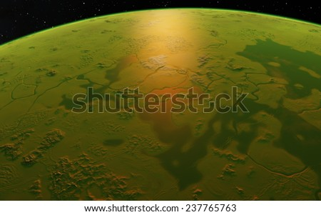 Planet surface. Fantastic planet - stock photo