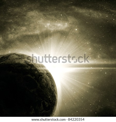 planet with a flash of sun, abstract background - stock photo