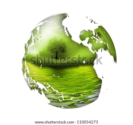 planet with tree inside - the concept of the environment - stock photo