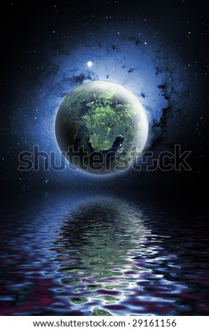 Planet with water reflection - stock photo