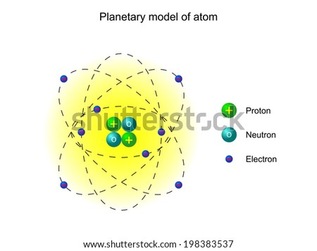 Planetary model of the atom by Ernest Rutherford, illustration, isolated on white - stock photo