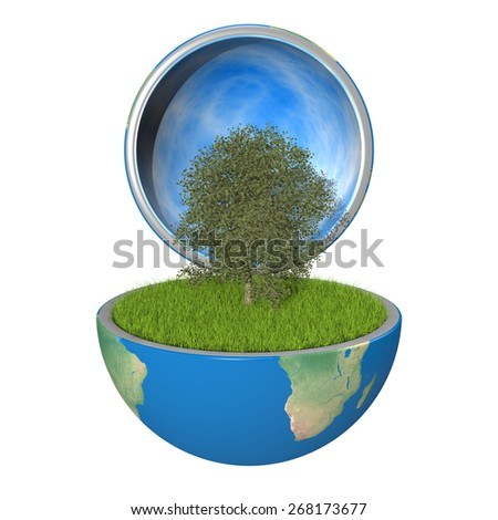 Planetree growing inside opened planet Earth, isolated on white background, concept of ecology. Elements of this image furnished by NASA - stock photo