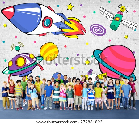 Planets Aircraft Drawing Earth Launch Concept - stock photo