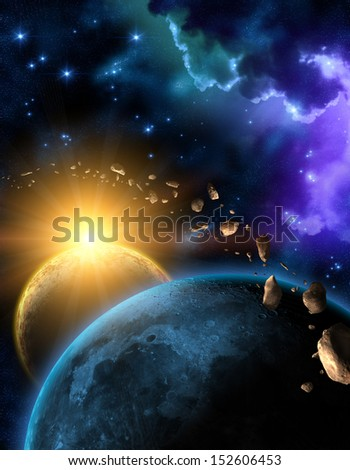 Planets and asteroids in black space with sun and stars - stock photo