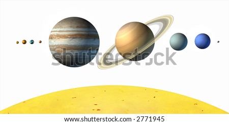 Planets from our solar system. White background. Digital illustration. - stock photo