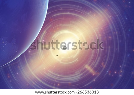 Planets in distant stellar system. Elements of this image furnished by NASA. Digital illustration. - stock photo