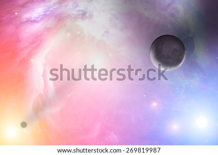 Planets in distant stellar system. Elements of this image furnished by NASA. Moon is my astrophotography work. Digital composite. - stock photo