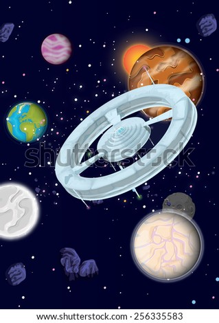 planets in space, planets and moons  in space in front of a star field. there is a space station rotating. - stock photo