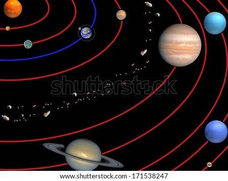 Planets of Solar system. Elements of this image furnished by NASA - stock photo