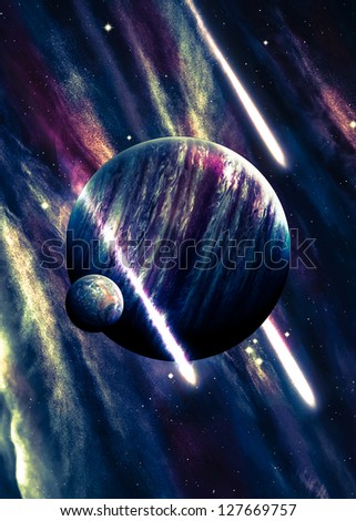 Planets over the nebulae in space with comets - stock photo