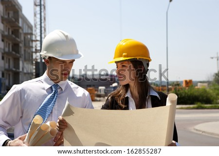 Planing new or future house on construction site. - stock photo