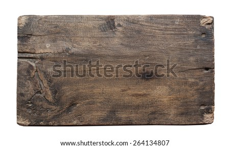 plank of old wood isolated on white background with Clipping Path. - stock photo