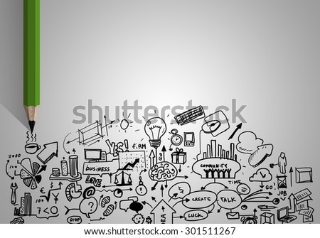 Planning concept with pencil drawing business strategy sketches - stock photo