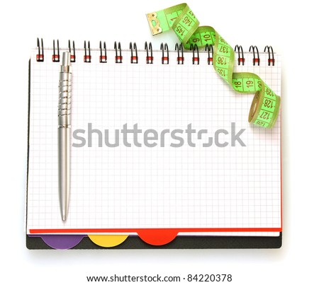 Planning of a diet. Notebook measuring tape and pencil isolated on white - stock photo