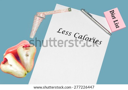 """Planning of diet """"LESS CALORIES"""". isolated on white background - stock photo"""