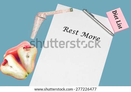 """Planning of diet """"REST MORE"""". isolated on white background - stock photo"""